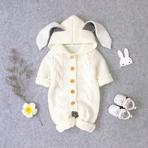 Baby Bunny and Cat Long Sleeved Knitted Rompers Jumpsuits for Winter