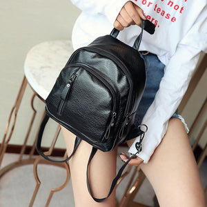 Women's Backpack PU Leather Shoulder Bag Purse Multifunctional Small Backpack for Women