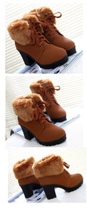 High Heel Ankle Winter Boots Plush Warm Fur