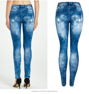 Washed Blue Ripped Jeans for Women - Bleached Casual Skinny Jeans
