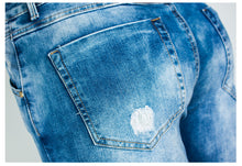 Load image into Gallery viewer, Washed Blue Ripped Jeans for Women - Bleached Casual Skinny Jeans