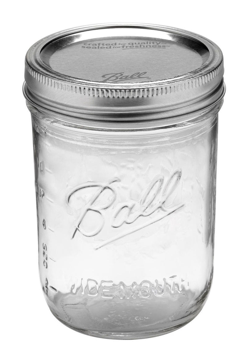Wide Mouth Ball Mason Jar with Enclosed Lid - 473ml
