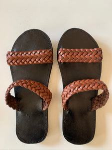 Brown Woven Leather Sandals