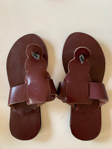 Brown Leather Sandals With Curves