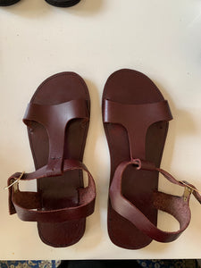 Thin-Strip Brown Leather Sandals