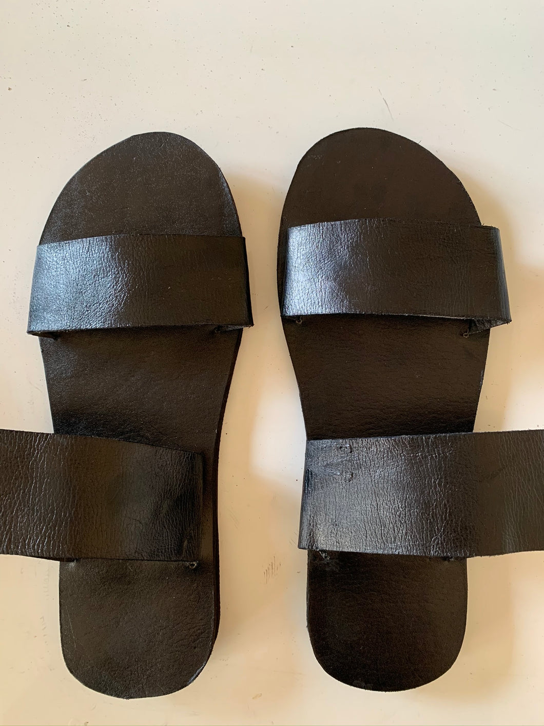 Plain Black Leather Sandals