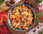 Baked Nachos with Cheddar Cheese & Olives Pizza