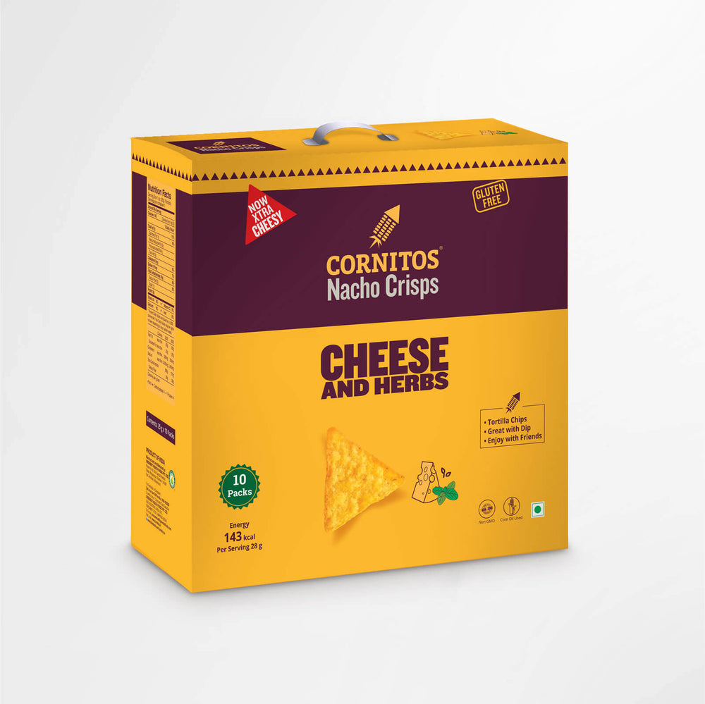 Load image into Gallery viewer, Cornitos Nacho Crisps Cheese & Herbs 25g X 10 Pack Combo