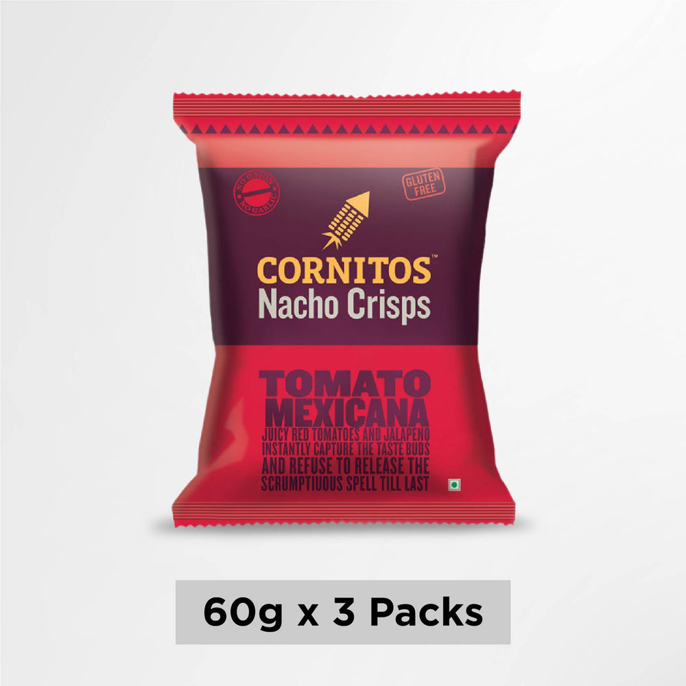 Cornitos No Onion No Garlic Tomato Mexicana Nacho Crisps 60g X 3 Pack Combo