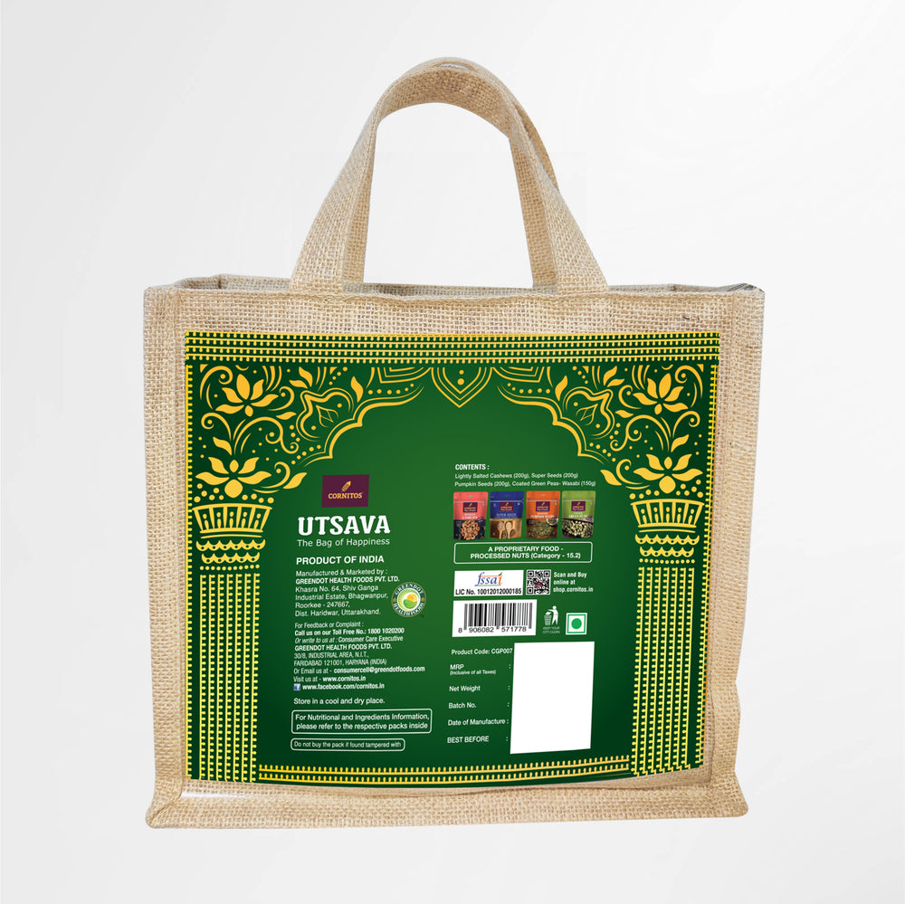 Utsava CGP007 Gift Pack in Eco-Friendly Reusable JUTE shopping bag
