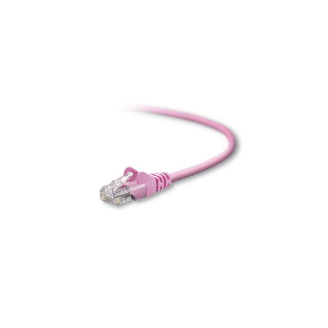 Belkin A3L791-03-PNK-S 3ft CAT5e UTP Snagless Patch Cable w/ RJ45M/RJ45M (Pink)
