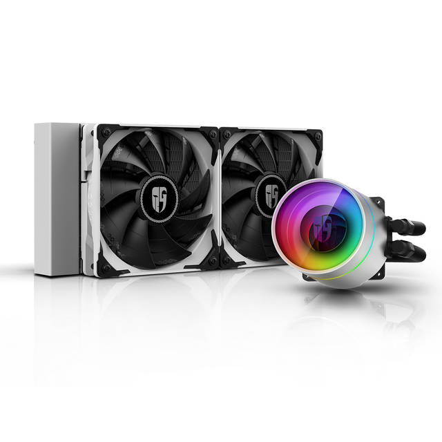 DEEPCOOL CASTLE 240 EX WHITE CAPTAIN 240EX RGB V2, AIO Liquid CPU Cooler, Anti-Leak Technology Inside, Sync RGB Waterblock and Fans with Cable Controller or MB with 12V 4-pin RGB Header, TR4/AM4 Supported