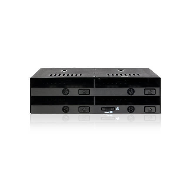 ICY DOCK FlexiDOCK MB524SP-B 4x 2.5 inch SSD Dock Trayless Hot-Swap SATA /SAS Mobile Rack for Ext 5.25 inch Bay (Black)