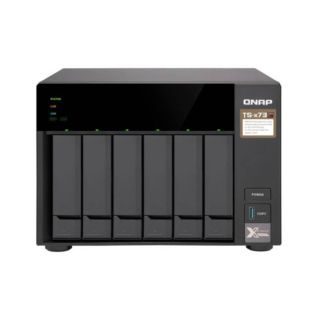 QNAP TS-673-8G-US AMD R-Series RX-421ND 2.1GHz/ 8GB DDR4/ 4GbE/ 6SATA3/ USB3.0/ 6-Bay Desktop NAS for SMBs