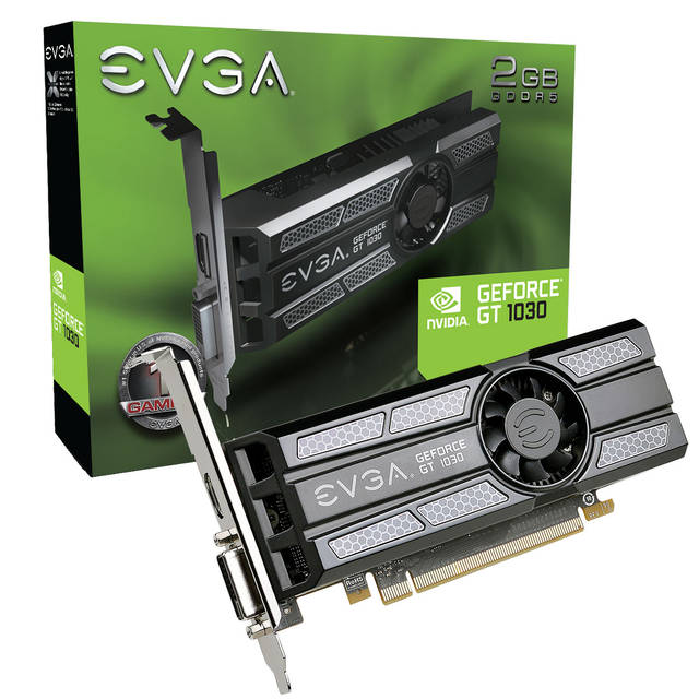EVGA NVIDIA GeForce GT 1030 SC 2GB GDDR5 DVI/HDMI Low Profile PCI-Express Video Card