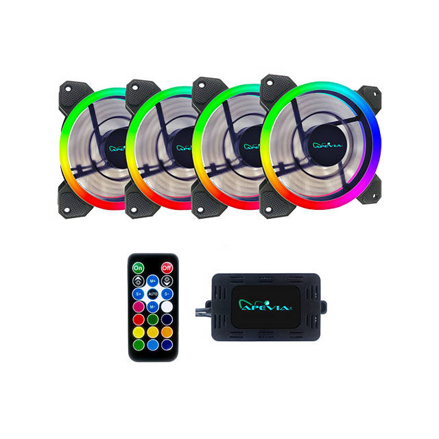 Apevia 412L-RGB 120mm Silent Dual Ring Addressable RGB Color Changing LED Fan (4-pk)