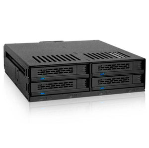 "ICY DOCK ExpressCage MB324SP-B 4 Bay 2.5 inch SAS/SATA HDD/SSD Hot Swap Mobile Rack for Single 5.25"" Bay (Black)"