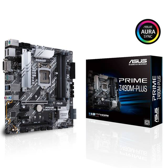 Asus PRIME Z490M-PLUS LGA1200/ Intel Z490/ DDR4/ 2-Way CrossFireX / SATA3&USB3.2/ M.2/ mATX Motherboard
