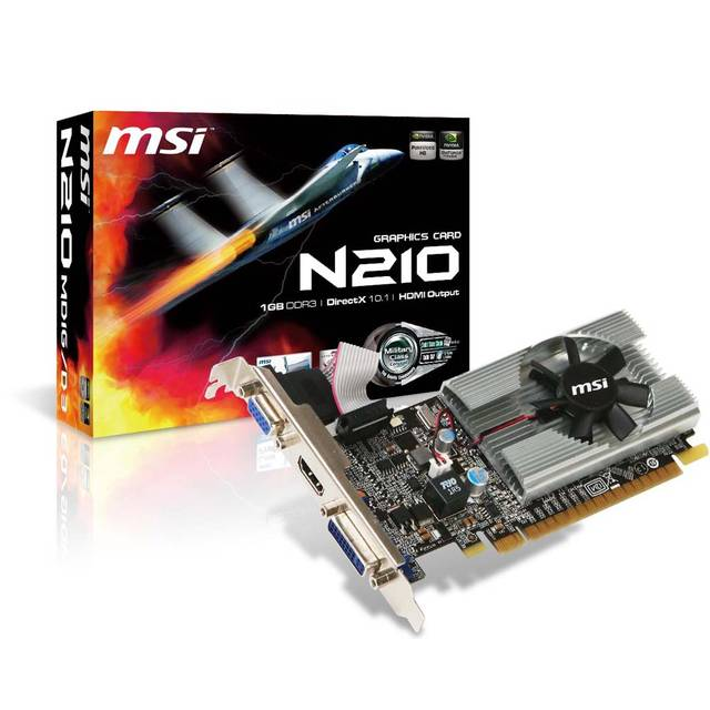 MSI NVIDIA GeForce 210 1GB GDDR3 VGA/DVI/HDMI Low Profile PCI-Express Video Card