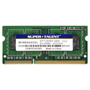 Super Talent DDR3L-1600 SODIMM 4GB/512Mx8 CL11 Value Notebook Memory