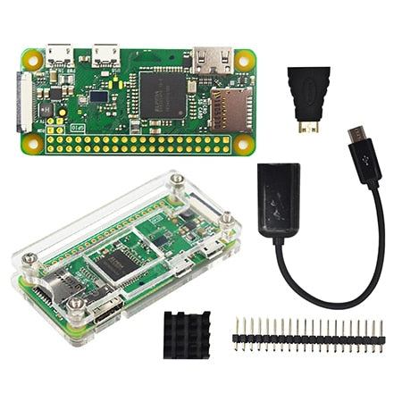 Raspberry Pi Zero W Starter Kit+ Acrylic Case + Heat Sink +2 x 20 pin GPIO Header better