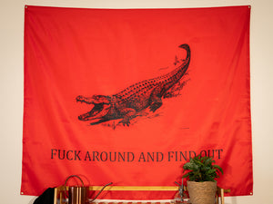 Fuck Around And Find Out Indoor Wall Flag Red
