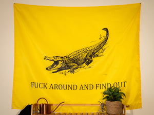 Fuck Around And Find Out Indoor Wall Flag - Yellow