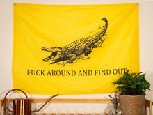 Load image into Gallery viewer, Fuck Around And Find Out Indoor Wall Flag - Yellow