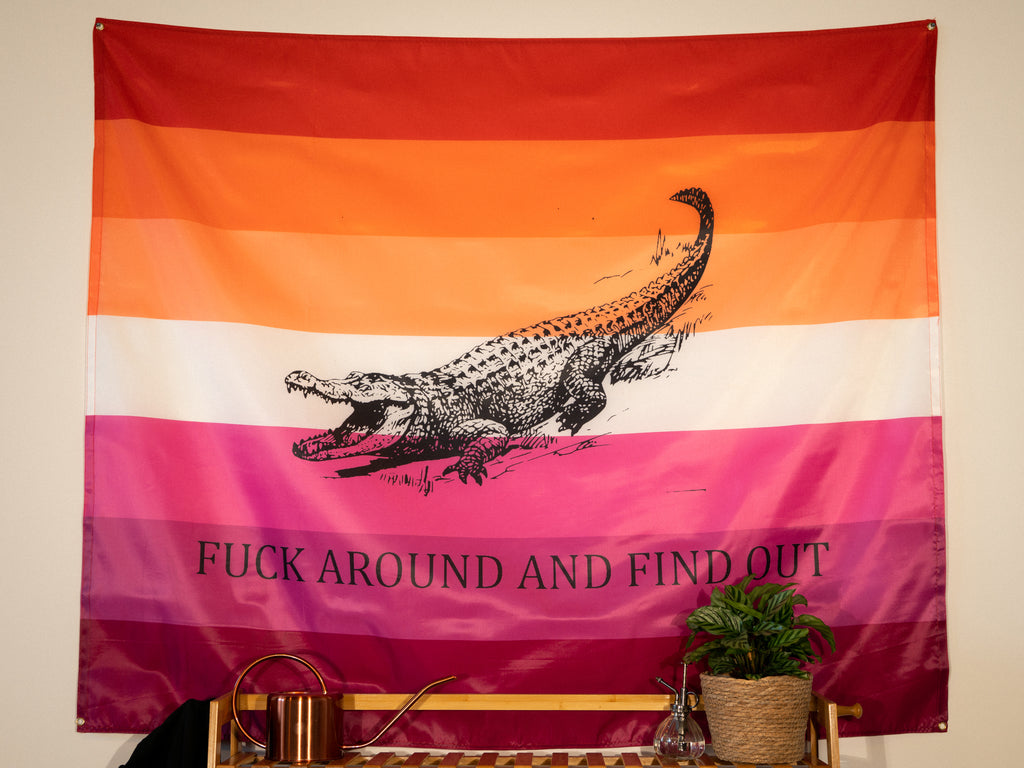 Fuck Around and Find Out Indoor Wall Flag - Lesbian Edition