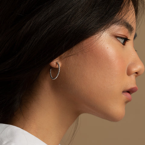 Luxe Bubble Hoop Earrings in silver