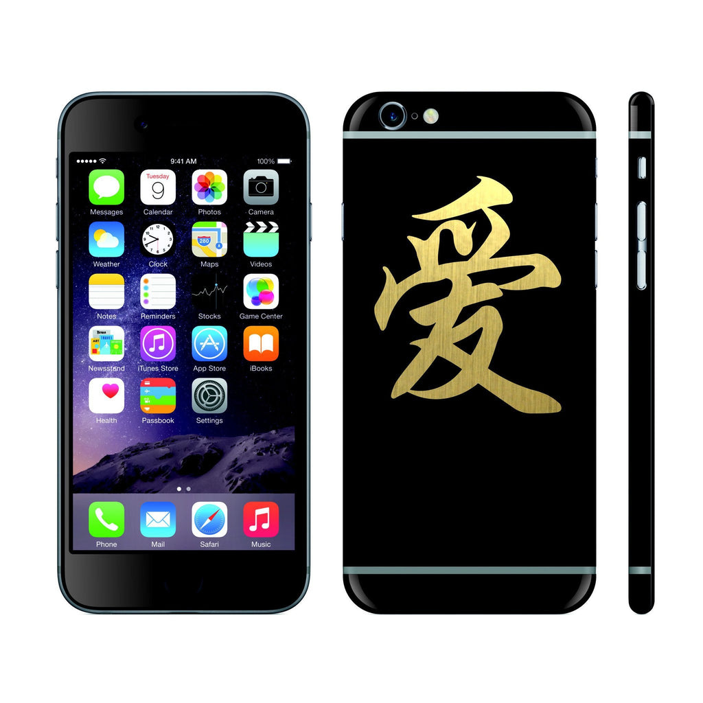 iPhone 6 Black Matt and Brushed Gold Chinese Symbol of LOVE Custom Designs Skin Cover Decal Wrap Sticker Protector by EasySkinz