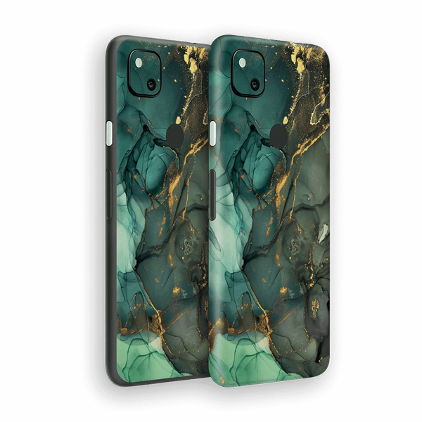 Google Pixel 4a Print Printed Custom SIGNATURE AGATE GEODE Royal Green-Gold Skin Wrap Sticker Decal Cover Protector by EasySkinz