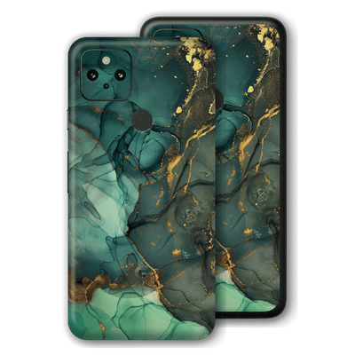 Google Pixel 4a 5G Print Printed Custom Signature AGATE GEODE Royal Green-Gold Skin Wrap Decal by EasySkinz | EasySkinz.com