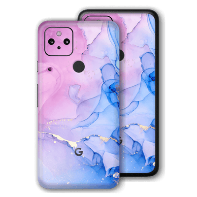 Google Pixel 4a 5G Print Printed Custom Signature Agate Geode Pink-Blue Skin Wrap Decal by EasySkinz | EasySkinz.com