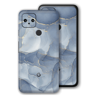 Google Pixel 4a 5G Print Printed Custom Signature Agate Geode Steel Blue-Gold Skin Wrap Decal by EasySkinz | EasySkinz.com