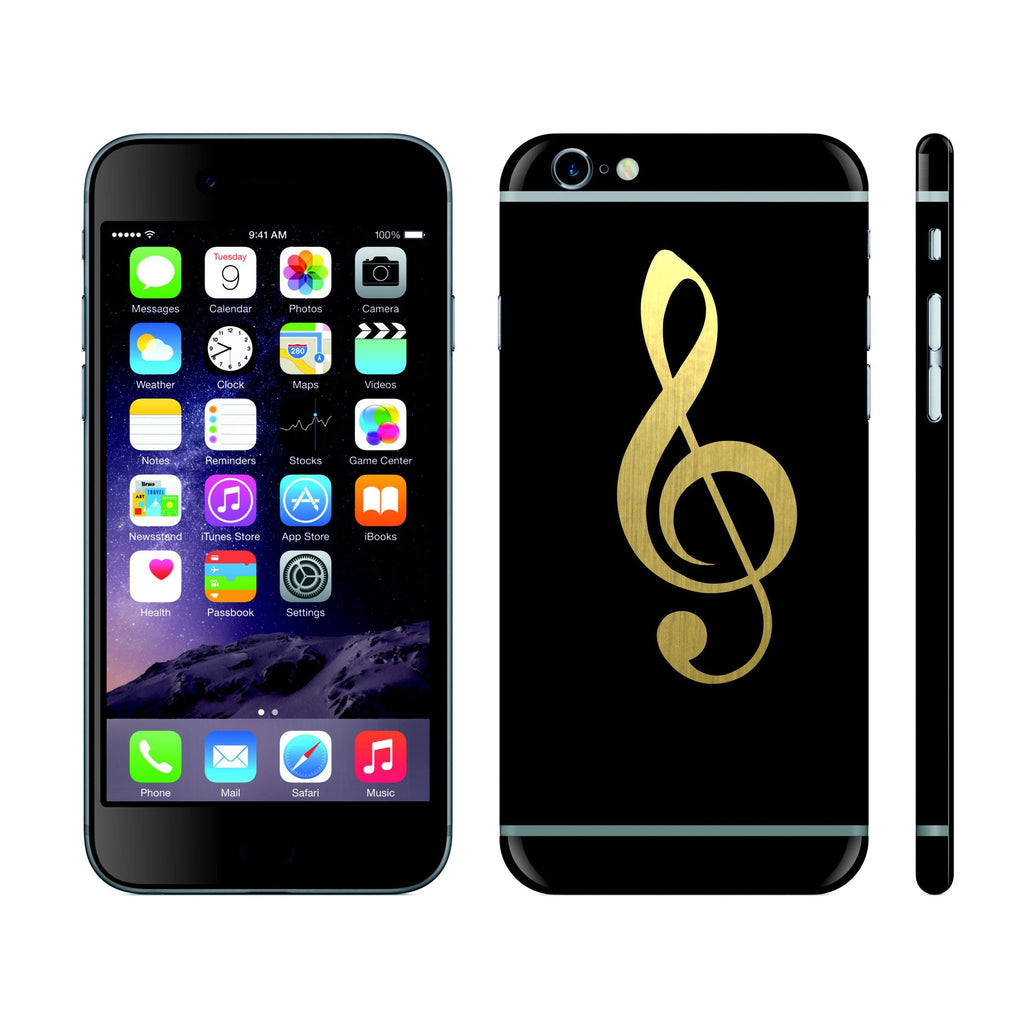 iPhone 6S PLUS Black Matt and Brushed Gold Music Custom Designs Skin Cover Decal Wrap Sticker Protector by EasySkinz