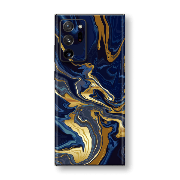 Samsung Galaxy NOTE 20 ULTRA Print Printed Custom SIGNATURE Ocean Blue & Gold Luxury Skin Wrap Sticker Decal Cover Protector by EasySkinz