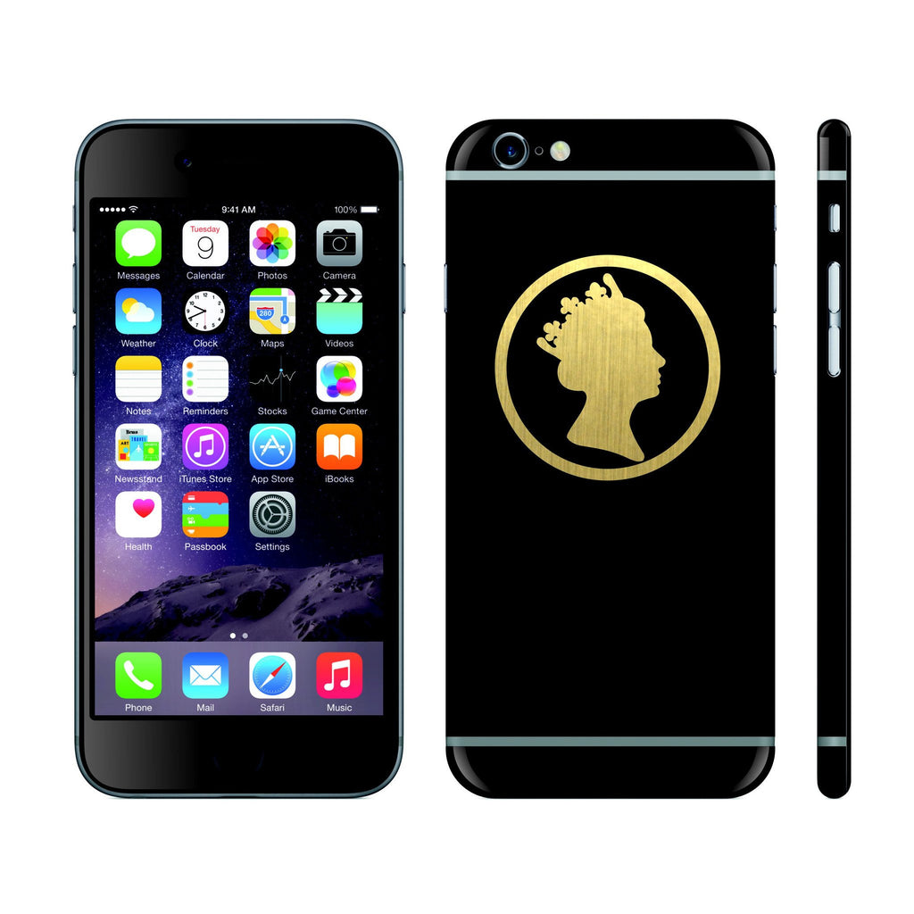 iPhone 6S PLUS Black Matt and Brushed Gold Queen Custom Designs Skin Cover Decal Wrap Sticker Protector by EasySkinz