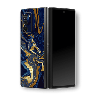 Samsung Galaxy Z Fold 2 Print Printed Custom SIGNATURE Ocean Blue & Gold Luxury Skin, Wrap, Decal, Protector, Cover by EasySkinz | EasySkinz.com