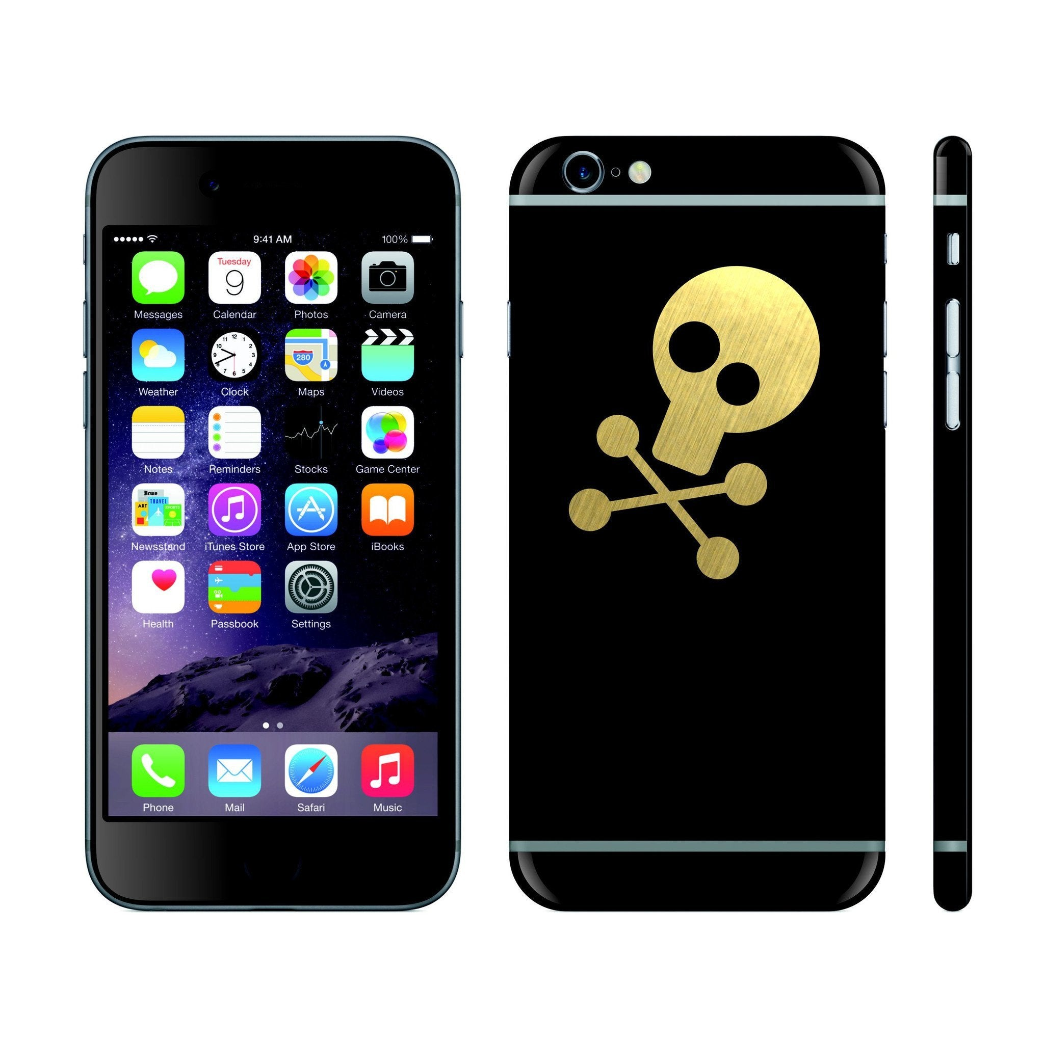 iPhone 6 Black Matt and Brushed Gold Skull Custom Designs Skin Cover Decal Wrap Sticker Protector by EasySkinz