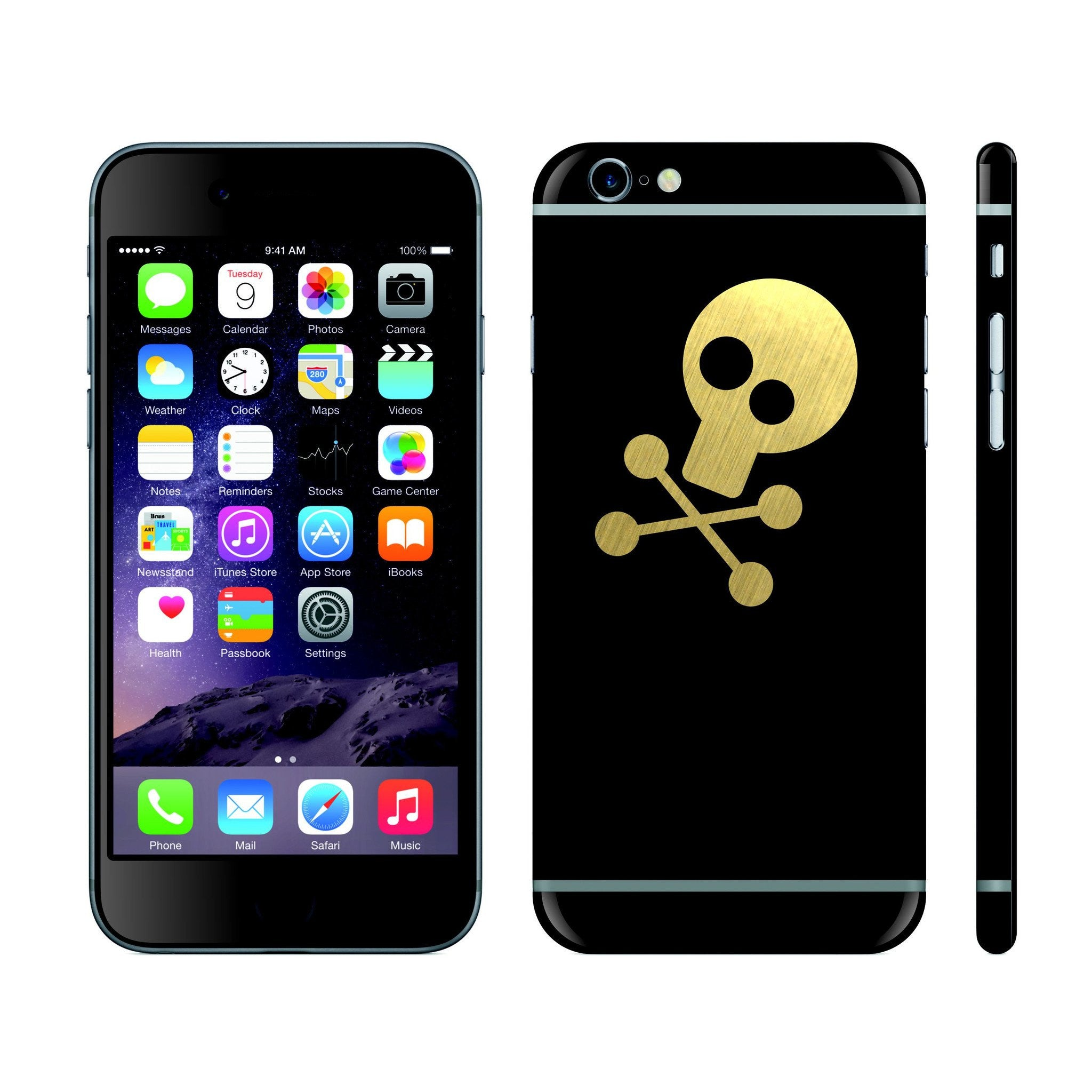 iPhone 6S Black Matt and Brushed Gold Skull Custom Designs Skin Cover Decal Wrap Sticker Protector by EasySkinz