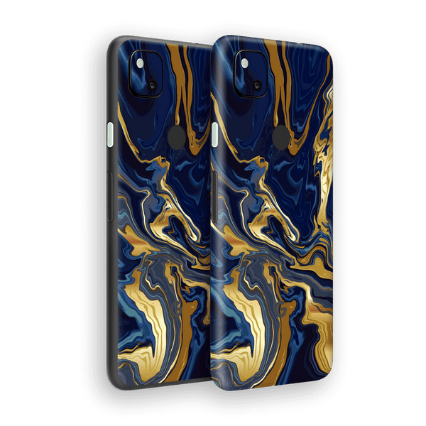 Google Pixel 4a Print Printed Custom SIGNATURE Ocean Blue & Gold Luxury Skin Wrap Sticker Decal Cover Protector by EasySkinz