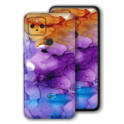 Google Pixel 4a 5G Print Printed Custom Signature Agate Geode Amber-Purple Skin Wrap Decal by EasySkinz | EasySkinz.com