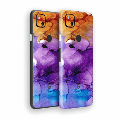 Google Pixel 4a Print Printed Custom SIGNATURE AGATE GEODE Amber-Purple Skin Wrap Sticker Decal Cover Protector by EasySkinz