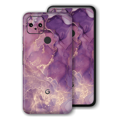 Google Pixel 4a 5G Print Printed Custom Signature Agate Geode Purple-Gold Skin Wrap Decal by EasySkinz | EasySkinz.com