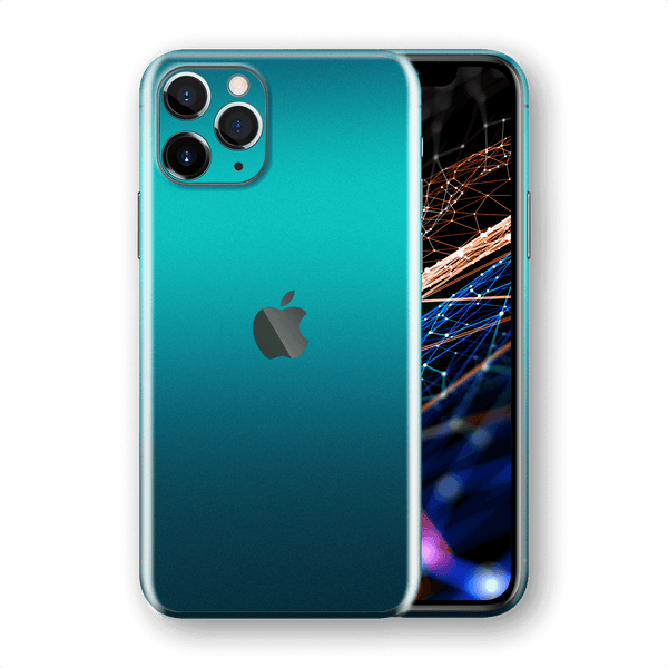 iPhone 11 Pro MAX Atomic Teal Metallic Gloss Finish Skin Wrap Sticker Decal Cover Protector by EasySkinz