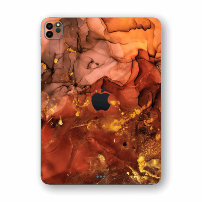 "iPad PRO 11"" (2020) SIGNATURE AGATE GEODE Flaming Orange Brown Fiery Gold Nebula Skin, Wrap, Decal, Protector, Cover by EasySkinz 