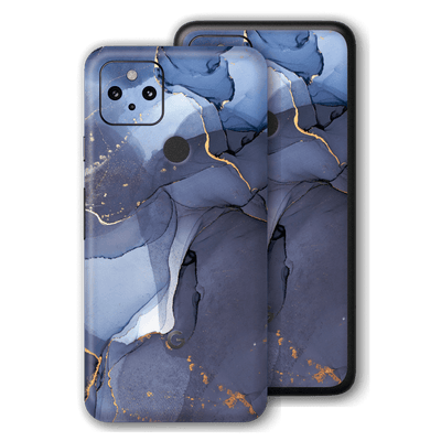 Google Pixel 4a 5G Print Printed Custom Signature Agate Geode Pigeon Blue-Gold Skin Wrap Decal by EasySkinz | EasySkinz.com