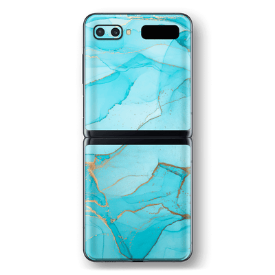 Samsung Galaxy Z Flip Print Printed Custom SIGNATURE AGATE GEODE Aqua-Gold Skin Wrap Sticker Decal Cover Protector by EasySkinz