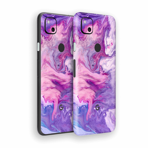 Google Pixel 4a Print Printed Custom SIGNATURE Abstract PURPLE Paint Skin Wrap Sticker Decal Cover Protector by EasySkinz